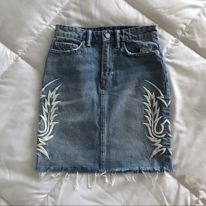 ALL SAINTS Philly Embroidered Denim Skirt